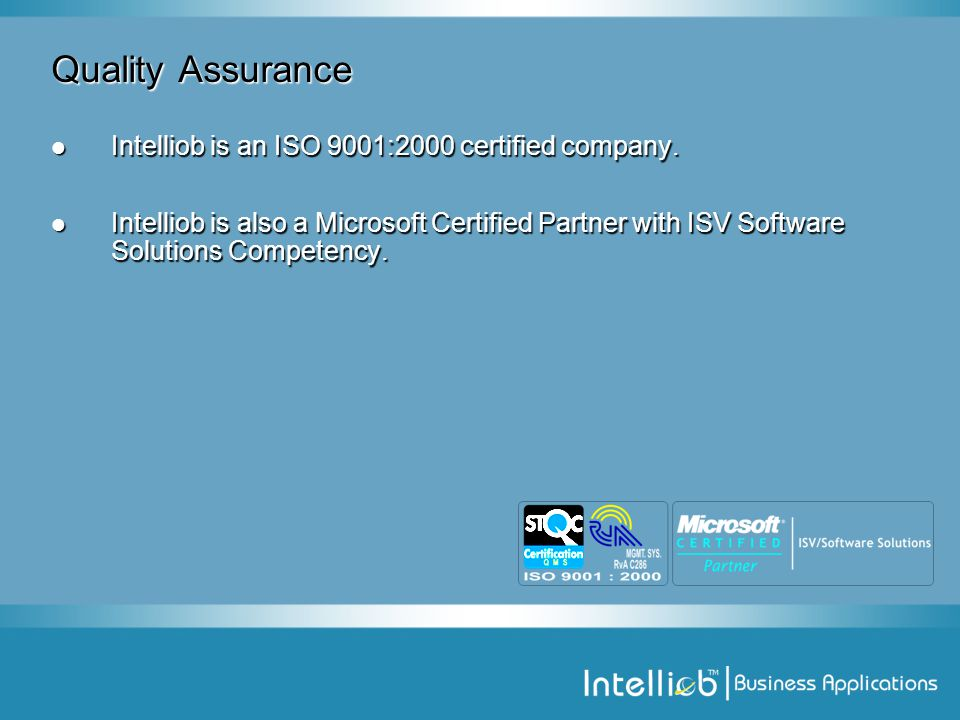 Quality Assurance Intelliob is an ISO 9001:2000 certified company.