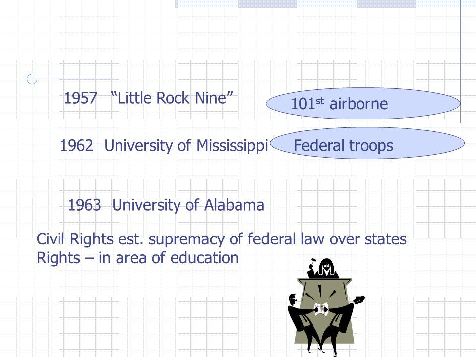 1957 Little Rock Nine 1962 University of Mississippi 101 st airborne Federal troops 1963 University of Alabama Civil Rights est.