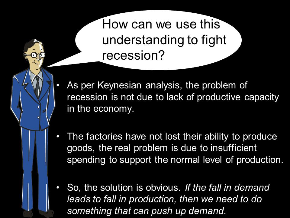 As per Keynesian analysis, the problem of recession is not due to lack of productive capacity in the economy.