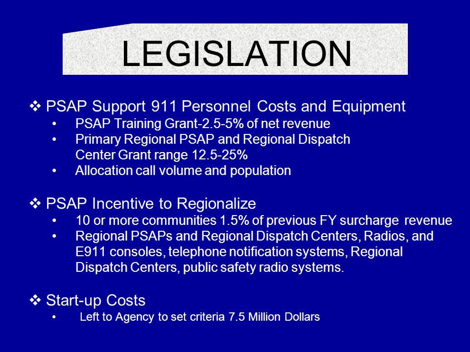LEGISLATION  PSAP Support 911 Personnel Costs and Equipment PSAP Training Grant-2.5-5% of net revenue Primary Regional PSAP and Regional Dispatch Cen