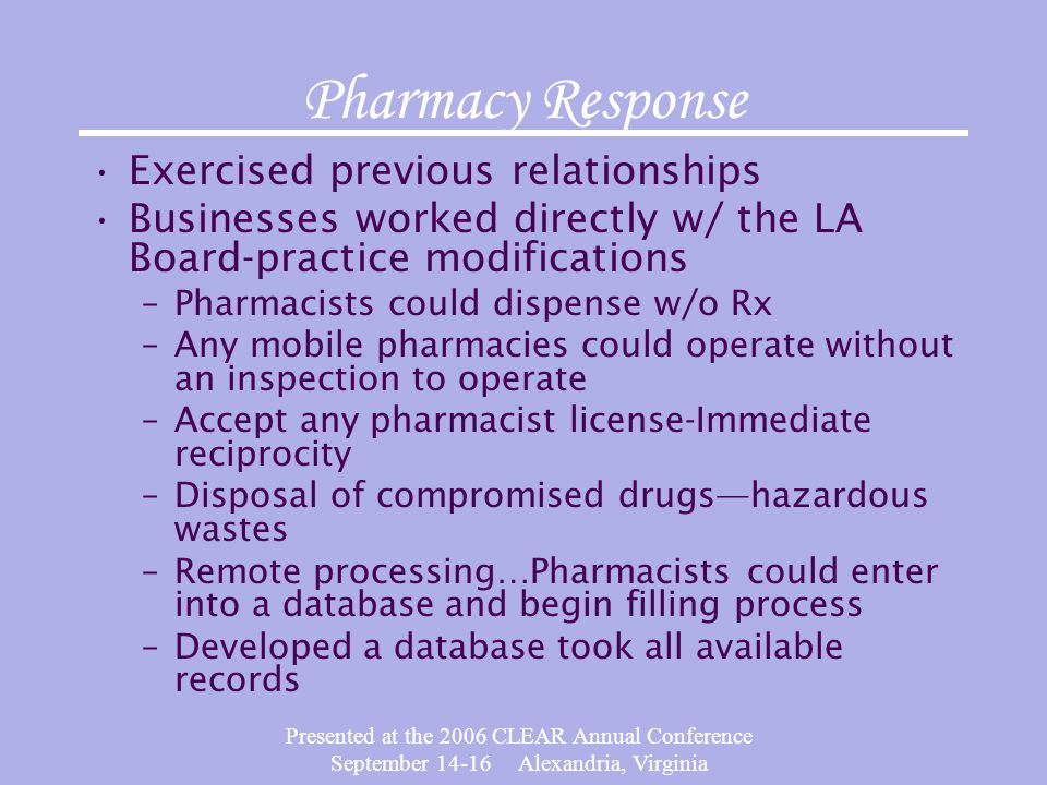 Presented at the 2006 CLEAR Annual Conference September 14-16 Alexandria, Virginia Pharmacy Response Exercised previous relationships Businesses worke