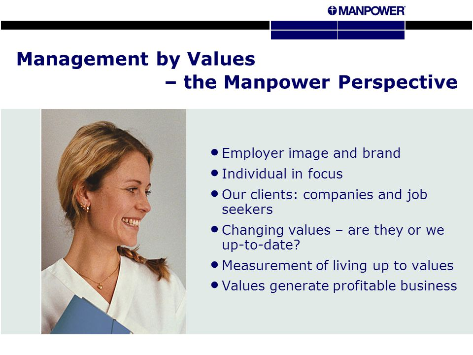 Management by Values – the Manpower Perspective Employer image and brand Individual in focus Our clients: companies and job seekers Changing values – are they or we up-to-date.
