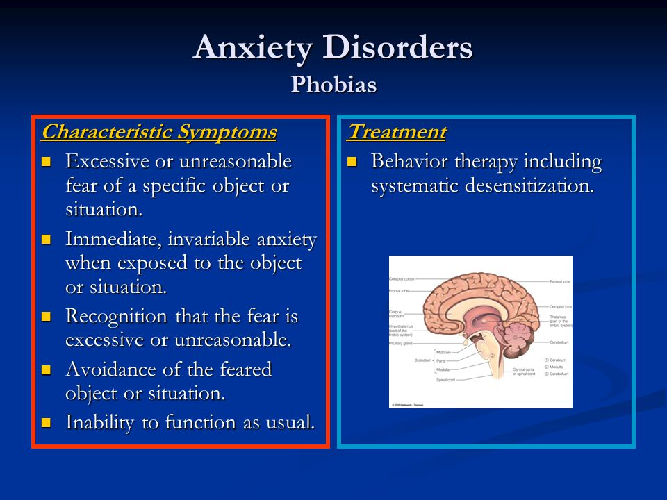 Anxiety Disorders Phobias Characteristic Symptoms Excessive or unreasonable fear of a specific object or situation.