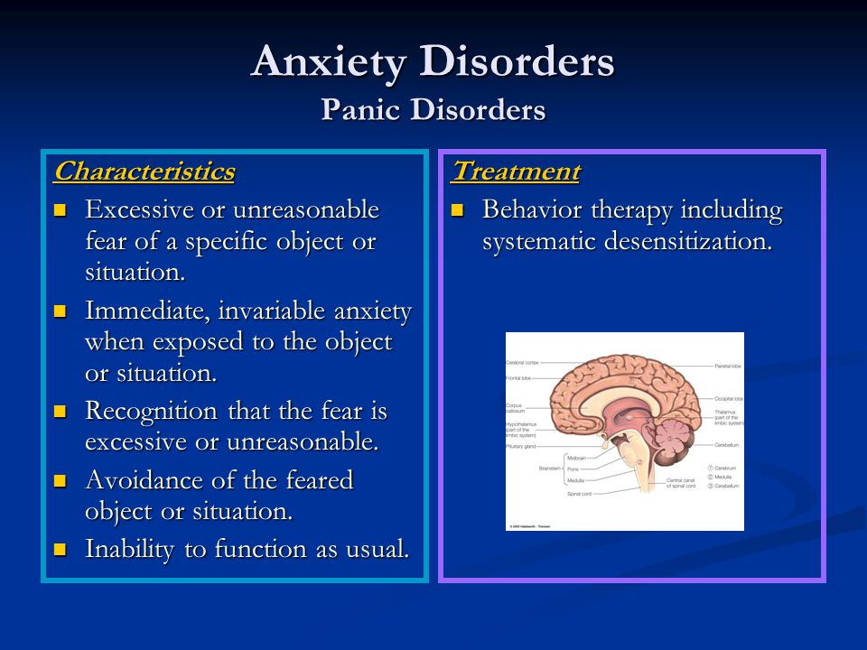 Anxiety Disorders Panic Disorders Characteristics Excessive or unreasonable fear of a specific object or situation.