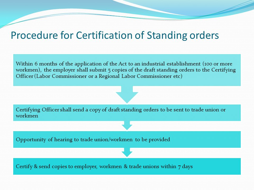 Procedure for Certification of Standing orders Certify & send copies to employer, workmen & trade unions within 7 days Opportunity of hearing to trade