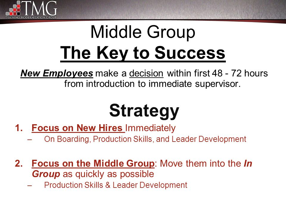 Middle Group The Key to Success New Employees make a decision within first 48 - 72 hours from introduction to immediate supervisor. Strategy 1.Focus o
