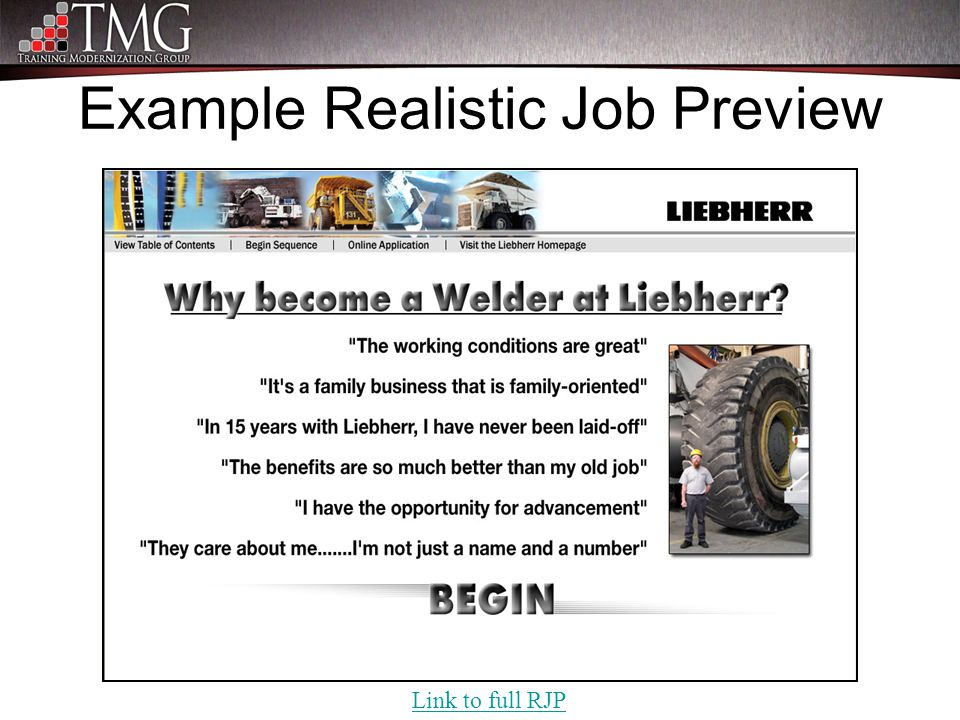 Example Realistic Job Preview Link to full RJP