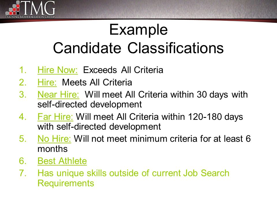 Example Candidate Classifications 1.Hire Now: Exceeds All Criteria 2.Hire: Meets All Criteria 3.Near Hire: Will meet All Criteria within 30 days with