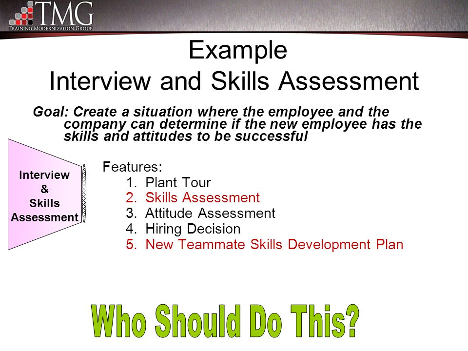 Example Interview and Skills Assessment Goal: Create a situation where the employee and the company can determine if the new employee has the skills a