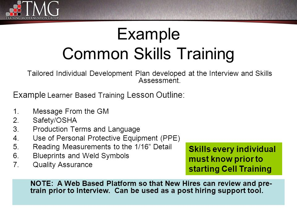 Example Common Skills Training Tailored Individual Development Plan developed at the Interview and Skills Assessment. Example Learner Based Training L