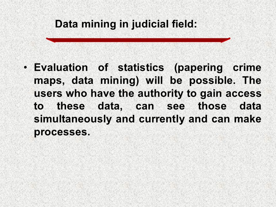 Evaluation of statistics (papering crime maps, data mining) will be possible. The users who have the authority to gain access to these data, can see t