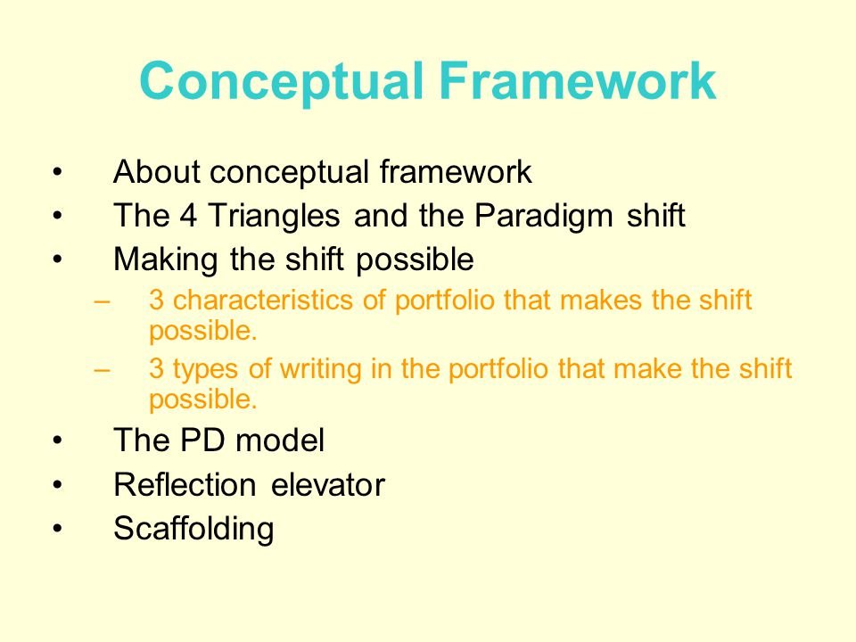 Conceptual Framework About conceptual framework The 4 Triangles and the Paradigm shift Making the shift possible –3 characteristics of portfolio that makes the shift possible.