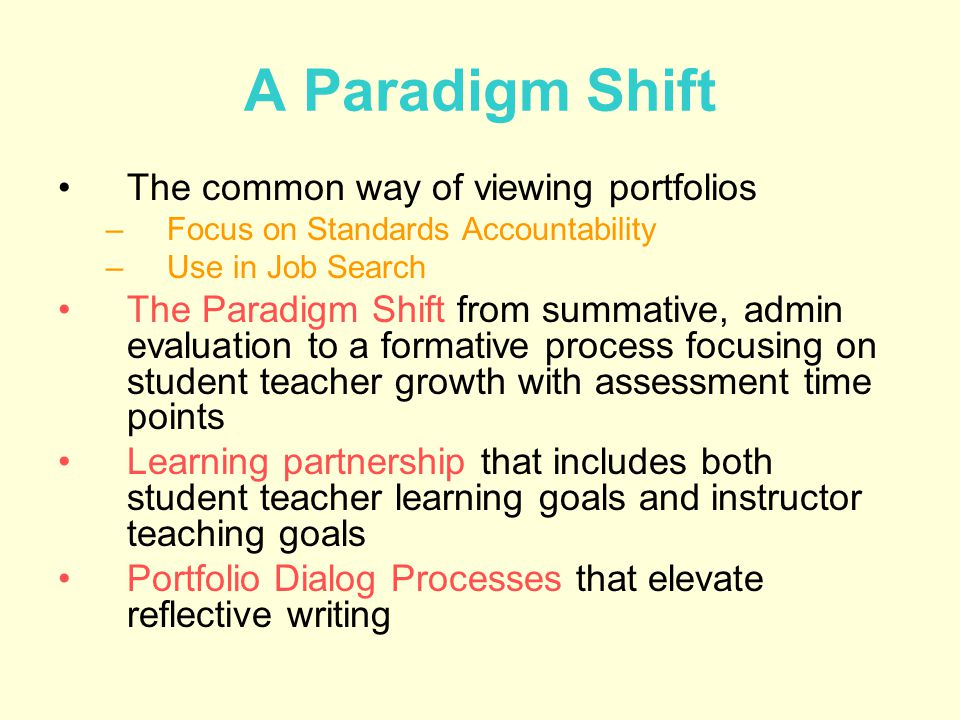 A Paradigm Shift The common way of viewing portfolios –Focus on Standards Accountability –Use in Job Search The Paradigm Shift from summative, admin evaluation to a formative process focusing on student teacher growth with assessment time points Learning partnership that includes both student teacher learning goals and instructor teaching goals Portfolio Dialog Processes that elevate reflective writing