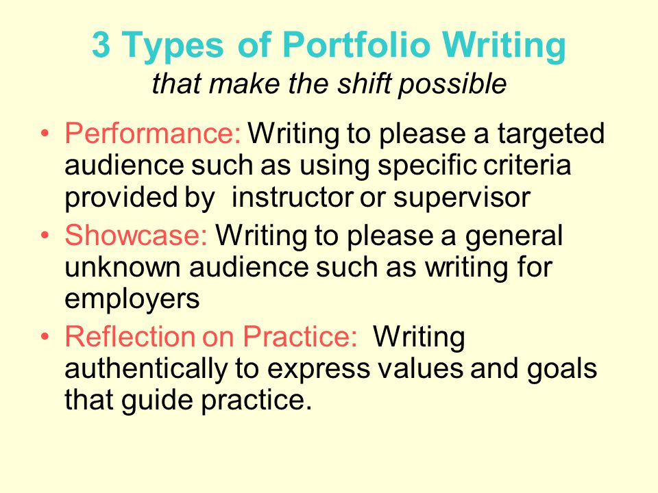 3 Types of Portfolio Writing that make the shift possible Performance: Writing to please a targeted audience such as using specific criteria provided by instructor or supervisor Showcase: Writing to please a general unknown audience such as writing for employers Reflection on Practice: Writing authentically to express values and goals that guide practice.