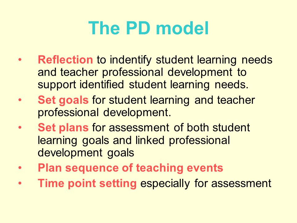 The PD model Reflection to indentify student learning needs and teacher professional development to support identified student learning needs.
