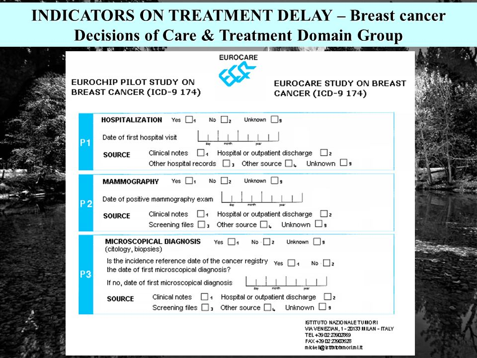 INDICATORS ON TREATMENT DELAY – Breast cancer Decisions of Care & Treatment Domain Group