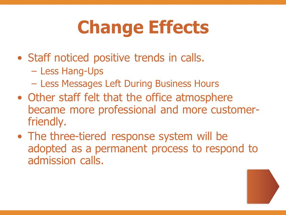 Change Effects Staff noticed positive trends in calls.