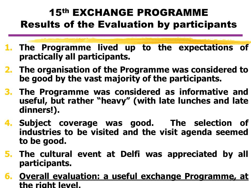 14 15 th EXCHANGE PROGRAMME Results of the Evaluation by participants 1.The Programme lived up to the expectations of practically all participants. 2.