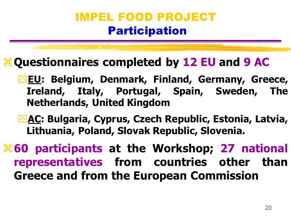 20 IMPEL FOOD PROJECT Participation zQuestionnaires completed by 12 EU and 9 AC yEU: Belgium, Denmark, Finland, Germany, Greece, Ireland, Italy, Portu