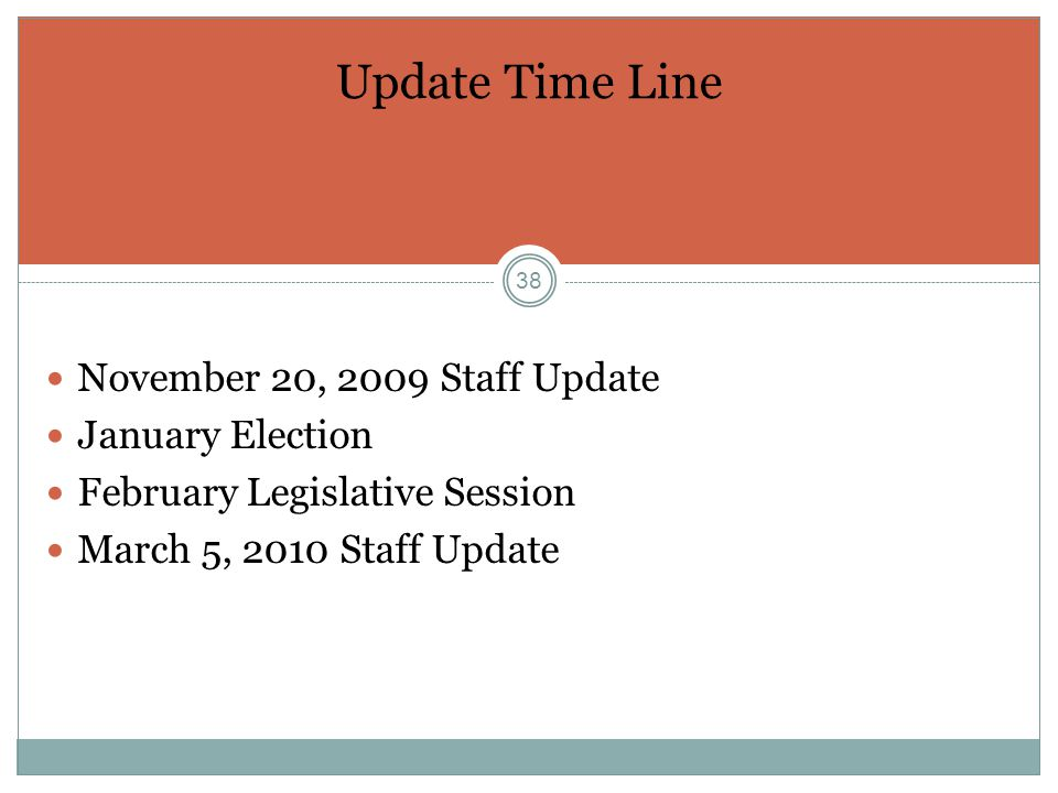 38 Update Time Line November 20, 2009 Staff Update January Election February Legislative Session March 5, 2010 Staff Update