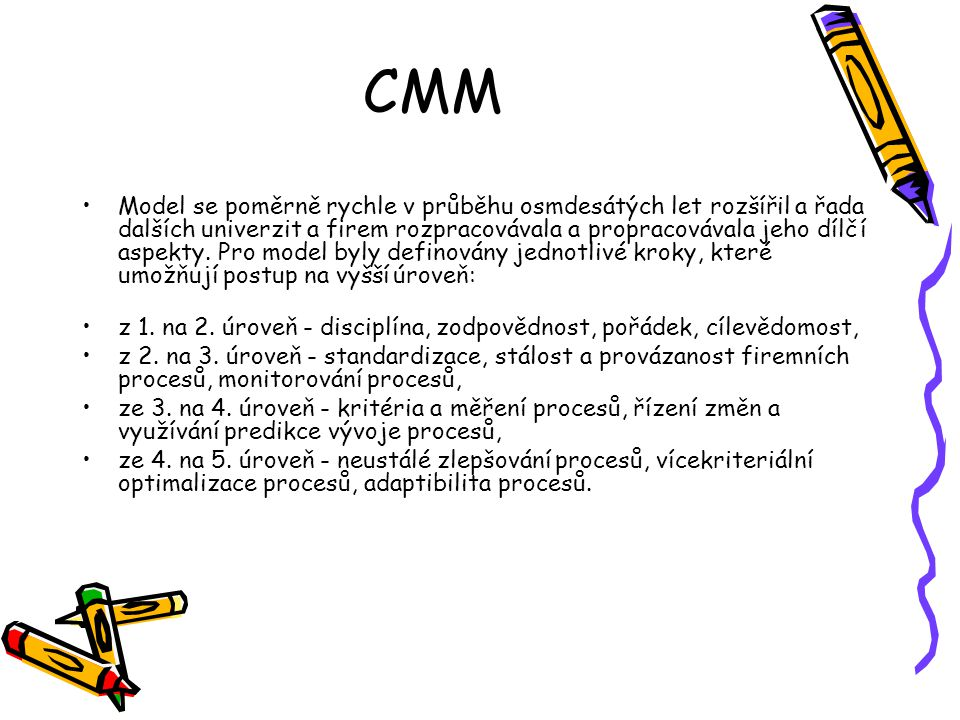 CMM Model se poměrně rychle v průběhu osmdesátých let rozšířil a řada dalších univerzit a firem rozpracovávala a propracovávala jeho dílčí aspekty.