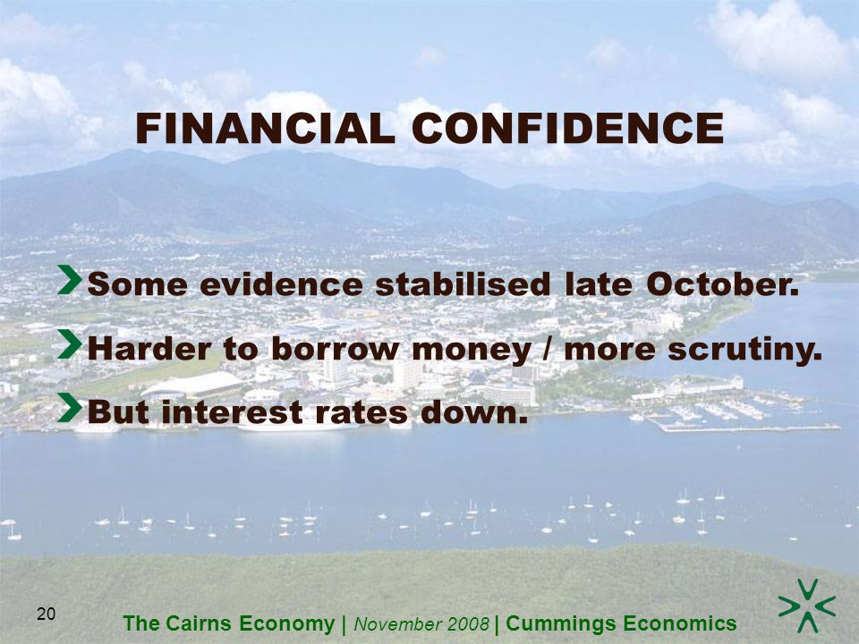 The Cairns Economy | November 2008 | Cummings Economics 20 FINANCIAL CONFIDENCE Some evidence stabilised late October.
