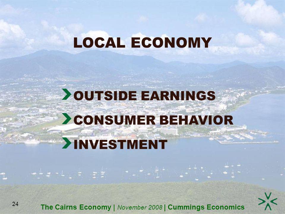 The Cairns Economy | November 2008 | Cummings Economics 24 LOCAL ECONOMY OUTSIDE EARNINGS CONSUMER BEHAVIOR INVESTMENT