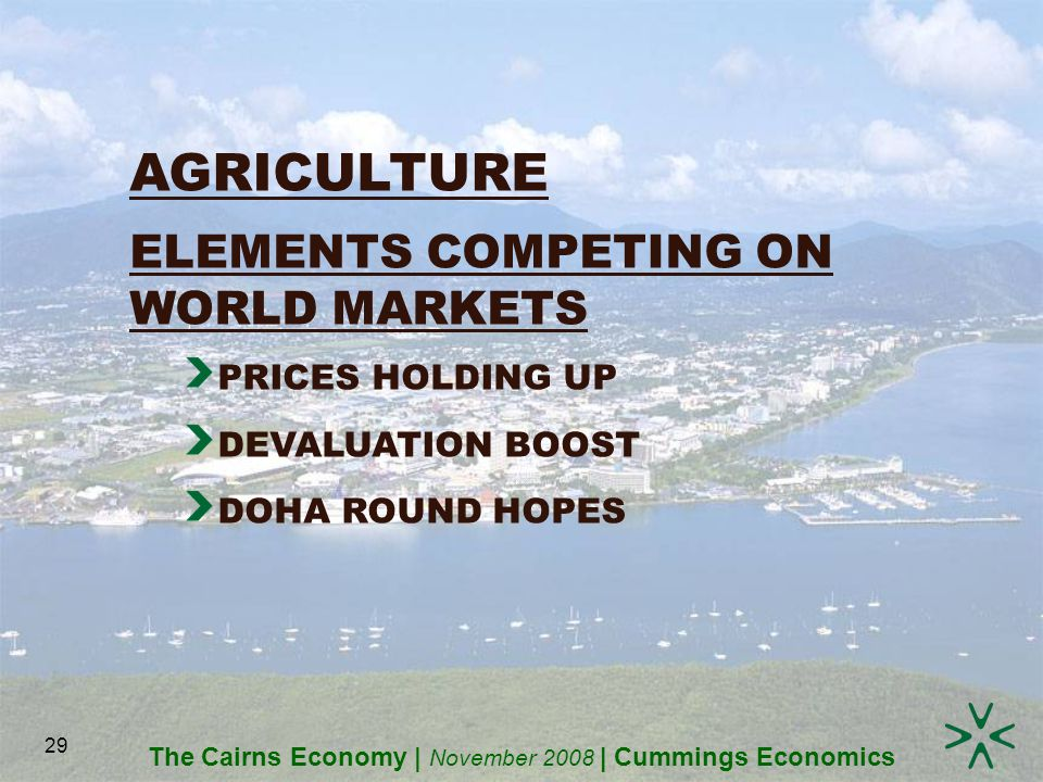The Cairns Economy | November 2008 | Cummings Economics 29 AGRICULTURE ELEMENTS COMPETING ON WORLD MARKETS PRICES HOLDING UP DEVALUATION BOOST DOHA ROUND HOPES