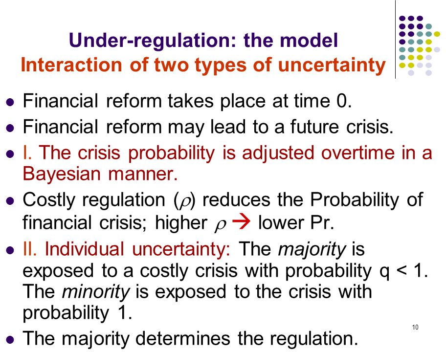 10 Under-regulation: the model Interaction of two types of uncertainty Financial reform takes place at time 0. Financial reform may lead to a future c