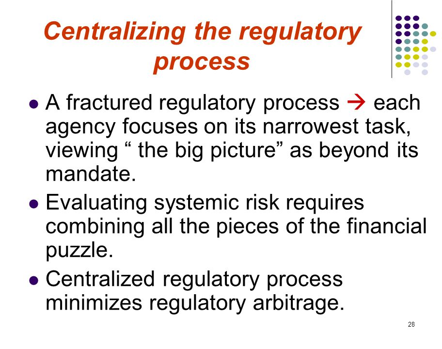 28 Centralizing the regulatory process A fractured regulatory process  each agency focuses on its narrowest task, viewing the big picture as beyond its mandate.