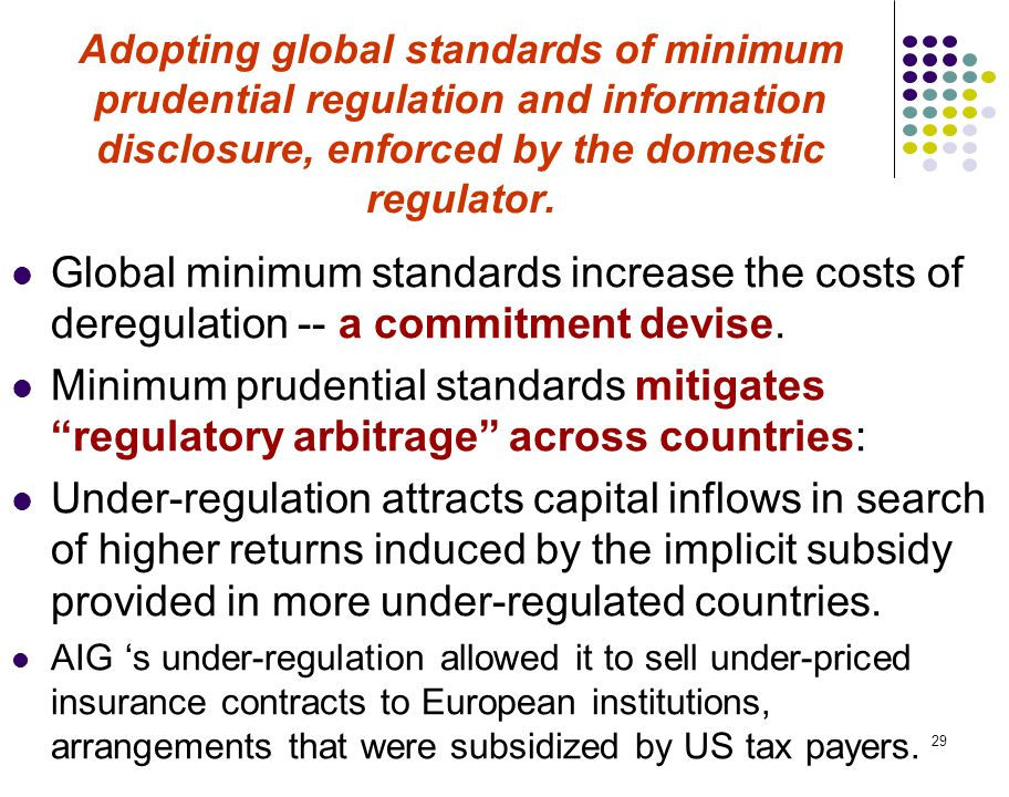 29 Adopting global standards of minimum prudential regulation and information disclosure, enforced by the domestic regulator.