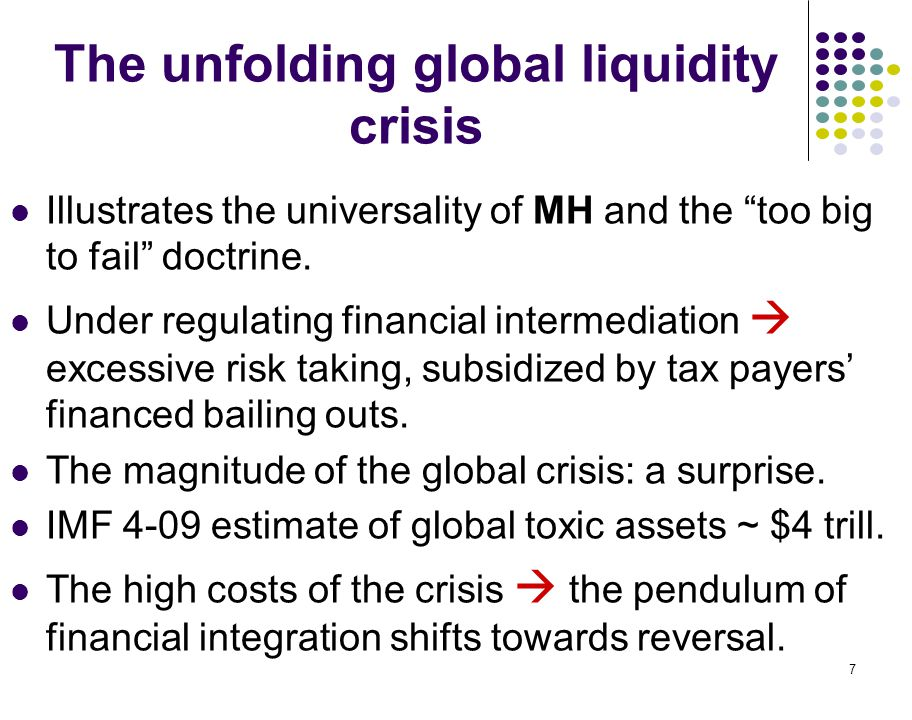 "7 The unfolding global liquidity crisis Illustrates the universality of MH and the ""too big to fail"" doctrine. Under regulating financial intermediati"