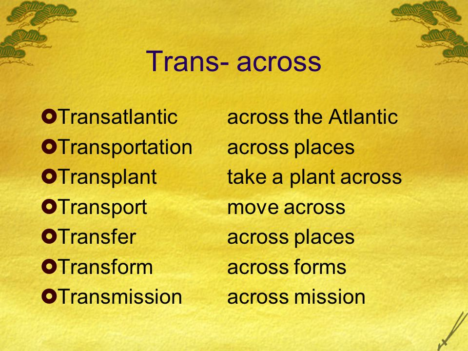 Trans- across  Transatlanticacross the Atlantic  Transportationacross places  Transplanttake a plant across  Transportmove across  Transferacross