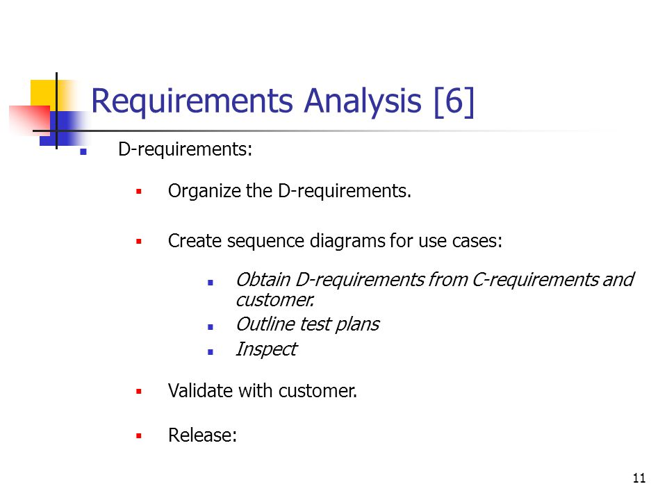 11 Requirements Analysis [6] D-requirements:  Organize the D-requirements.  Create sequence diagrams for use cases: Obtain D-requirements from C-req