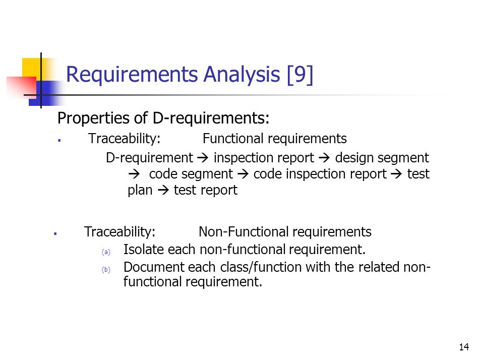 14 Requirements Analysis [9] Properties of D-requirements:  Traceability:Functional requirements D-requirement  inspection report  design segment 