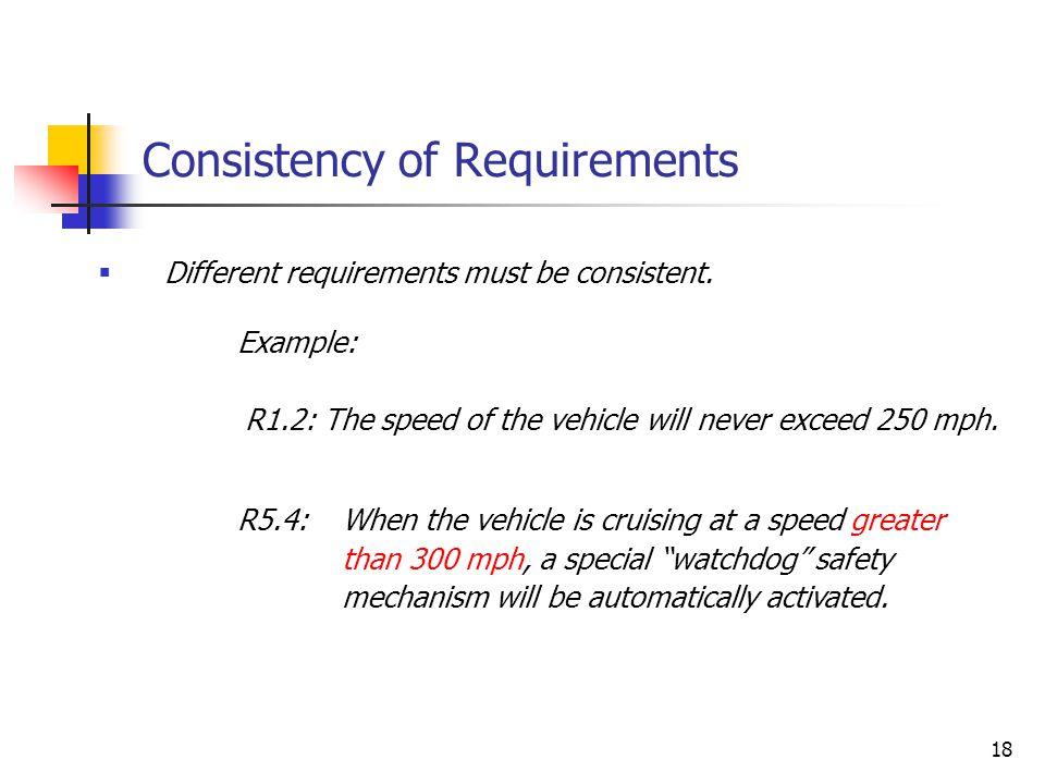 18 Consistency of Requirements  Different requirements must be consistent. R5.4: When the vehicle is cruising at a speed greater than 300 mph, a spec