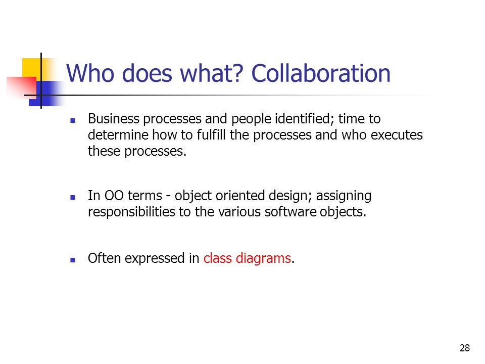 28 Who does what? Collaboration Business processes and people identified; time to determine how to fulfill the processes and who executes these proces