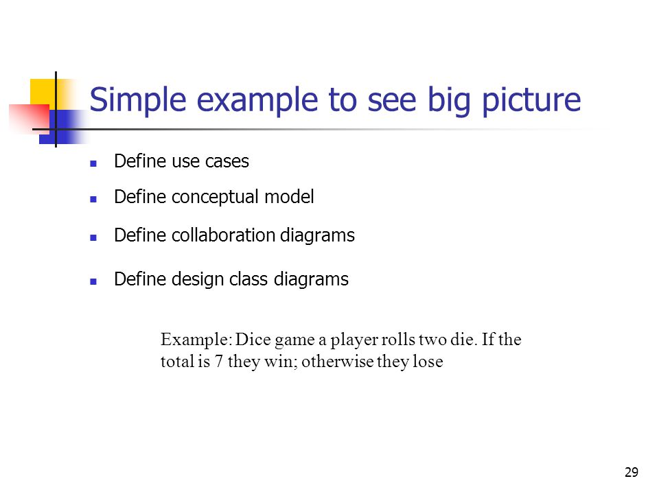 29 Simple example to see big picture Define use cases Example: Dice game a player rolls two die. If the total is 7 they win; otherwise they lose Defin
