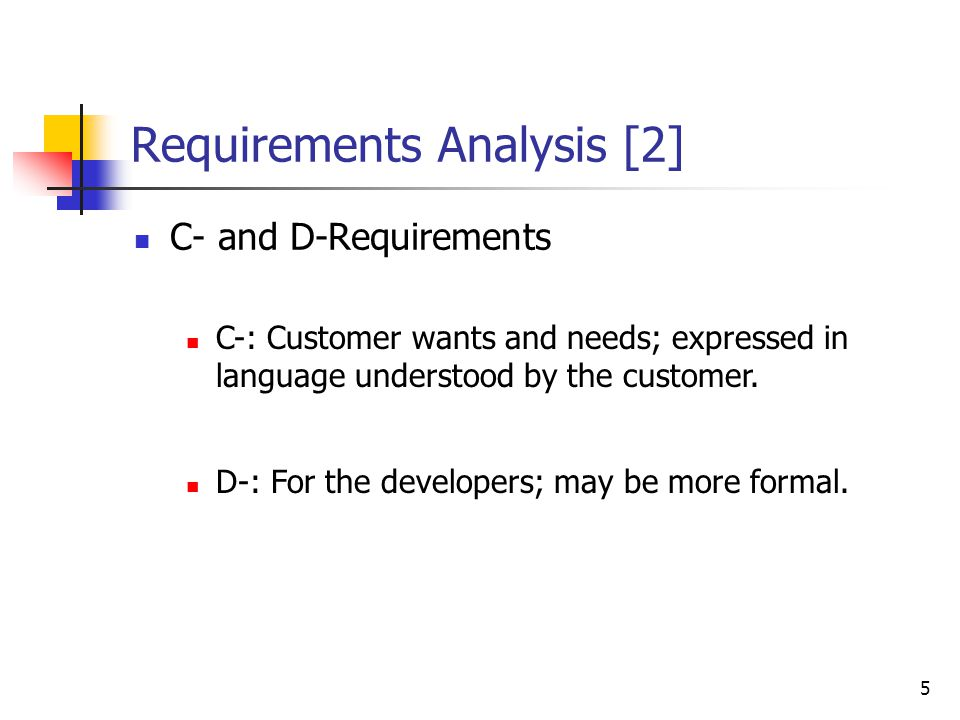 6 Requirements Analysis [3] Why document requirements.