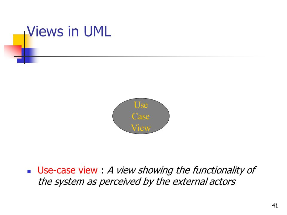 41 Views in UML Use Case View Use-case view : A view showing the functionality of the system as perceived by the external actors