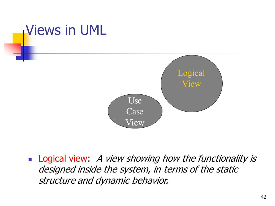 42 Views in UML Use Case View Logical View Logical view: A view showing how the functionality is designed inside the system, in terms of the static st