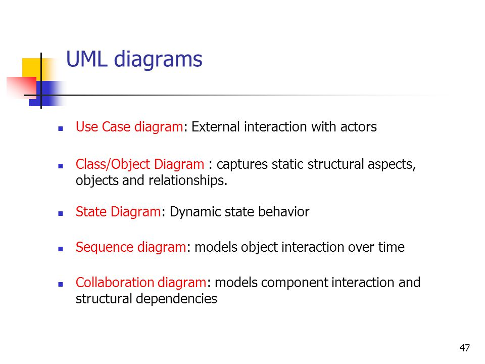 47 UML diagrams Use Case diagram: External interaction with actors Class/Object Diagram : captures static structural aspects, objects and relationship