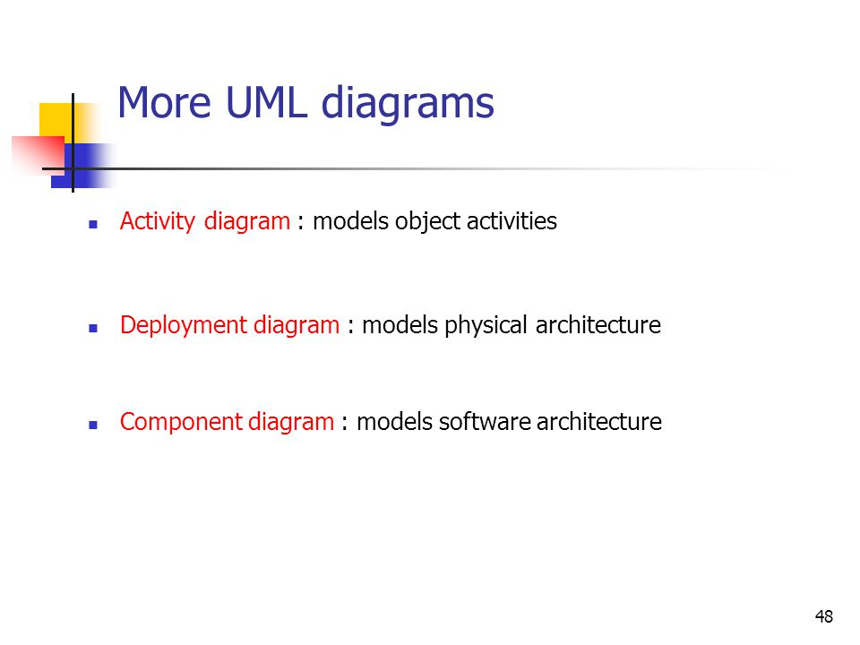 48 More UML diagrams Activity diagram : models object activities Deployment diagram : models physical architecture Component diagram : models software