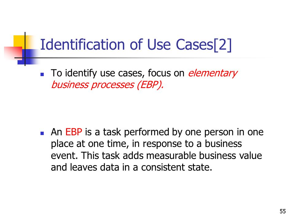 55 Identification of Use Cases[2] To identify use cases, focus on elementary business processes (EBP). An EBP is a task performed by one person in one