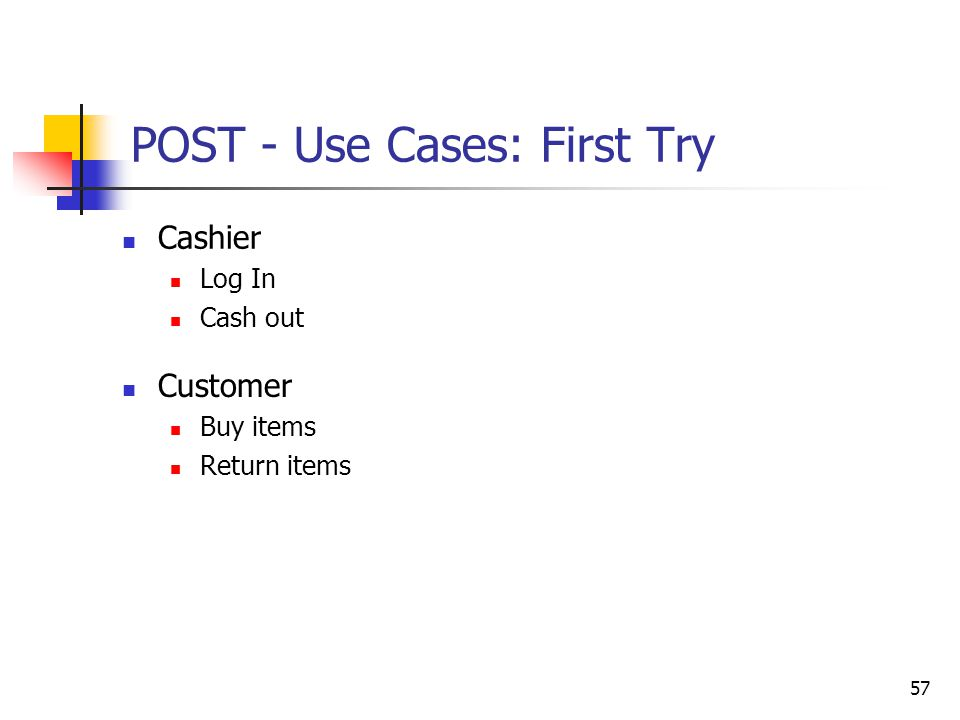 57 POST - Use Cases: First Try Cashier Log In Cash out Customer Buy items Return items