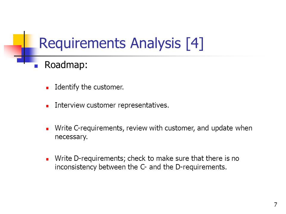 7 Requirements Analysis [4] Roadmap: Identify the customer. Write C-requirements, review with customer, and update when necessary. Interview customer