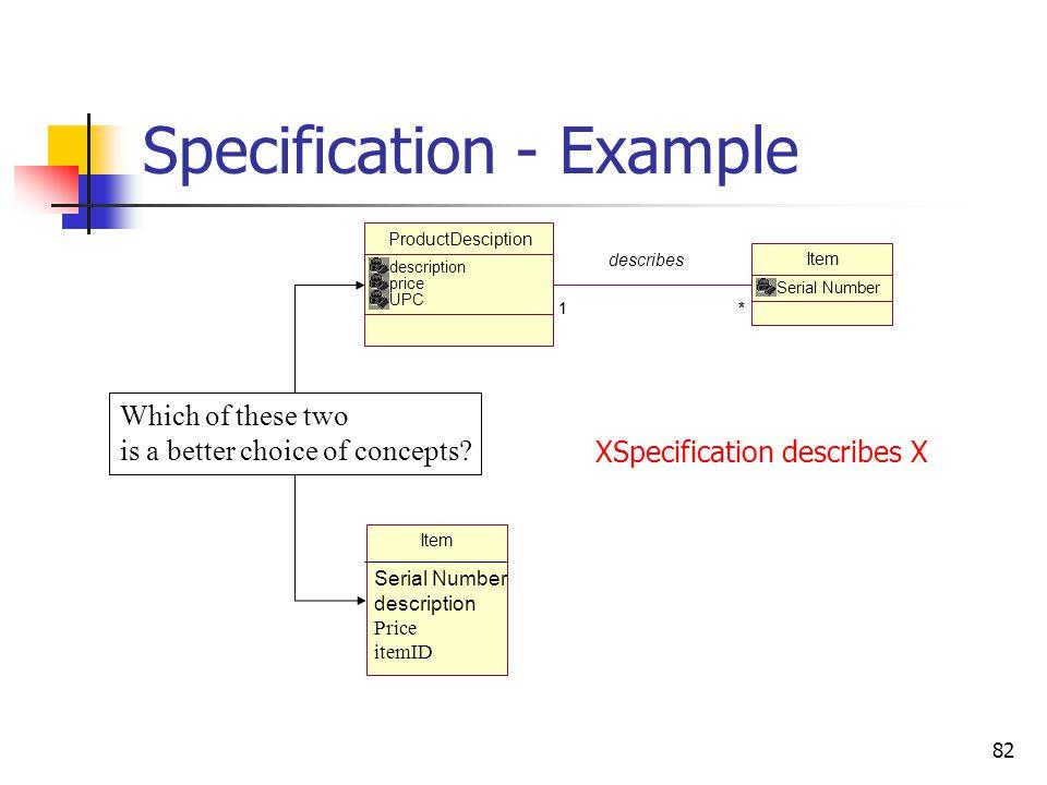 82 Specification - Example ProductDesciption description price UPC Item Serial Number *1 describes *1 Item Serial Number description Price itemID Whic