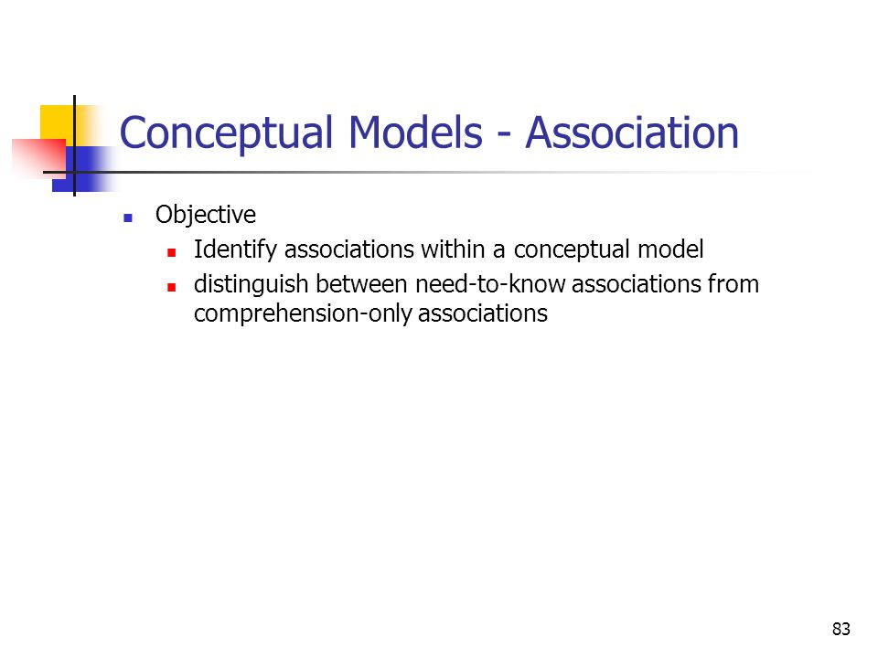 83 Conceptual Models - Association Objective Identify associations within a conceptual model distinguish between need-to-know associations from compre