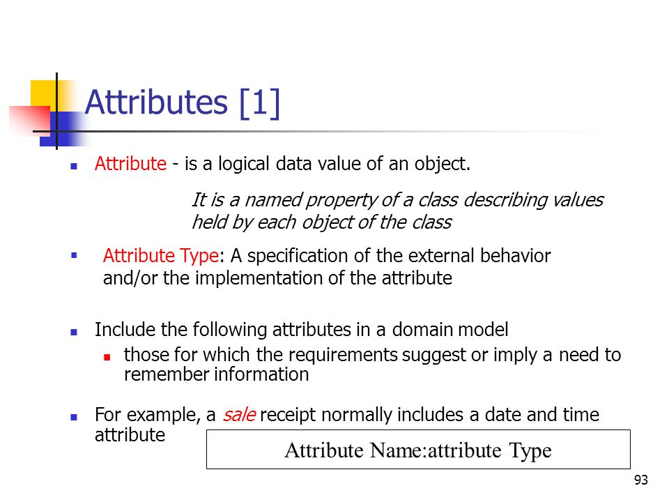 93 Attributes [1] Attribute - is a logical data value of an object. Include the following attributes in a domain model those for which the requirement
