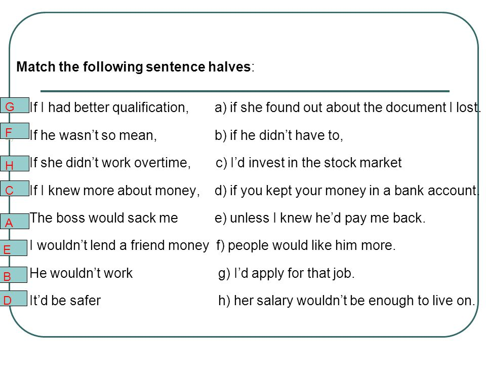 Make second conditional sentences: 1)I ______ you the money if I _______ it. (give, have) 2)If she really ___________ him, she ______________ all his
